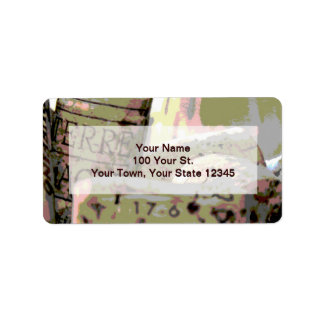Green Red Toned Wine Corks Custom Personalized Address Label