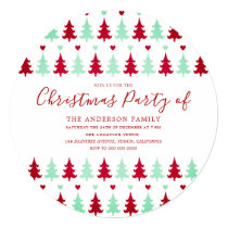 Green & Red Tree Pattern Christmas Party Circle Invitation