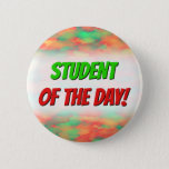 [ Thumbnail: Green, Red Watercolor-Like Abstract Pattern Button ]