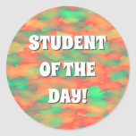 [ Thumbnail: Green, Red Watercolor-Like Abstract Pattern Round Sticker ]