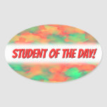 [ Thumbnail: Green, Red Watercolor-Like Abstract Pattern Sticker ]