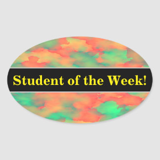 Green, Red Watercolor-Like Abstract Pattern Oval Sticker