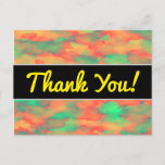[ Thumbnail: Green, Red Watercolor-Like Abstract Pattern Postcard ]