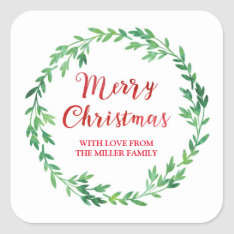 Green Red Watercolor Wreath Merry Christmas Square Sticker at Zazzle