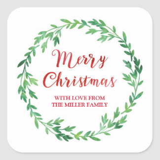 Green Red Watercolor Wreath Merry Christmas Square Sticker