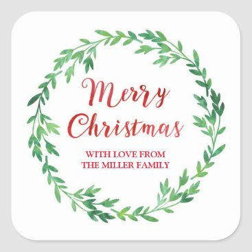Christmas Themed Green Red Watercolor Wreath Merry Christmas Square Sticker