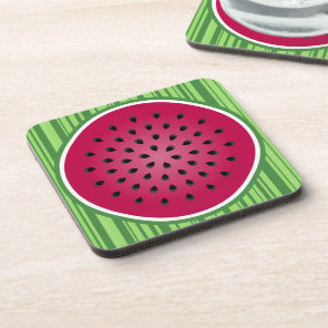 Green Red Watermelon Design Beverage Coaster