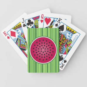 Green Red Watermelon Design Bicycle Playing Cards