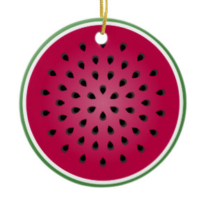 Green Red Watermelon Design Ceramic Ornament