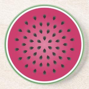 Green Red Watermelon Design Coaster