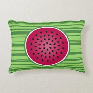 Green Red Watermelon Design Decorative Pillow