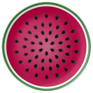Green Red Watermelon Design Dinner Plate
