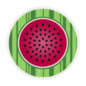 Green Red Watermelon Design Edible Frosting Rounds