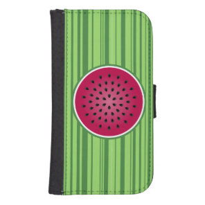 Green Red Watermelon Design Galaxy S4 Wallet Case