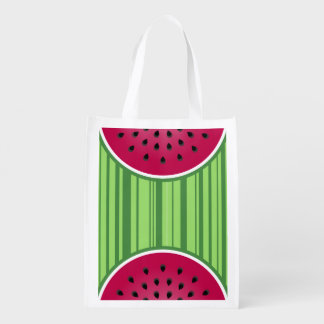 Green Red Watermelon Design Grocery Bag