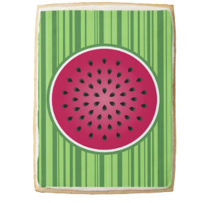 Green Red Watermelon Design Jumbo Shortbread Cookie