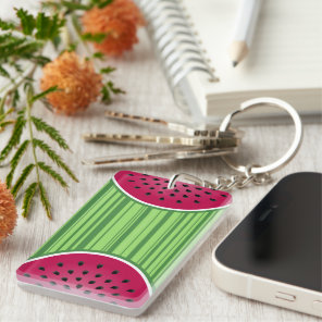 Green Red Watermelon Design Keychain