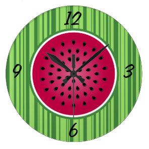 Green Red Watermelon Design Large Clock