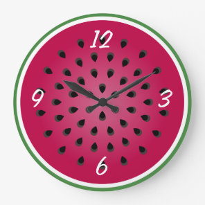 Green Red Watermelon Design Large Clock