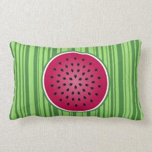 Green Red Watermelon Design Lumbar Pillow