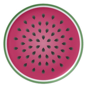 Green Red Watermelon Design Plate