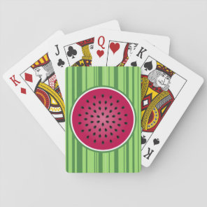 Green Red Watermelon Design Playing Cards