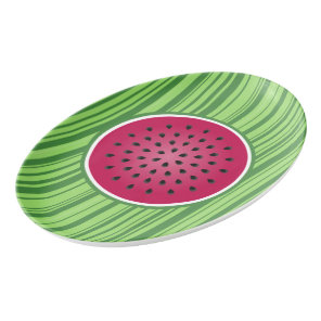 Green Red Watermelon Design Porcelain Serving Platter