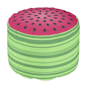 Green Red Watermelon Design Pouf