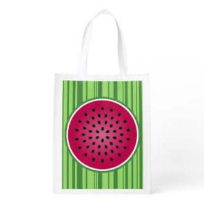 Green Red Watermelon Design Reusable Grocery Bag