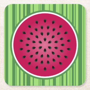 Green Red Watermelon Design Square Paper Coaster