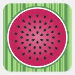 Green Red Watermelon Design Square Sticker