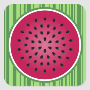Green Red Watermelon Design Square Sticker