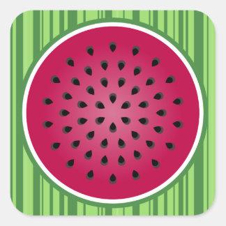 Green Red Watermelon Design Square Stickers