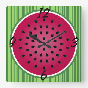 Green Red Watermelon Design Square Wall Clock