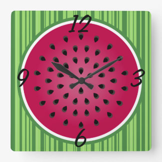 Green Red Watermelon Design Square Wall Clock