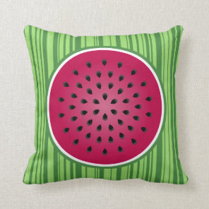 Green Red Watermelon Design Throw Pillow