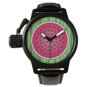 Green Red Watermelon Design Watch