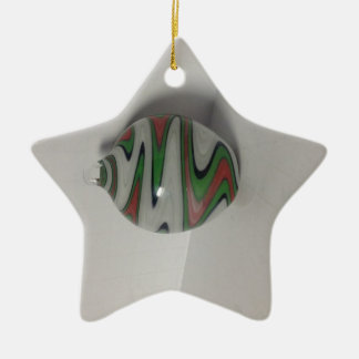 green red white dichro wig wag pattern ceramic ornament