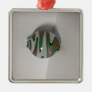 green red white dichro wig wag pattern metal ornament