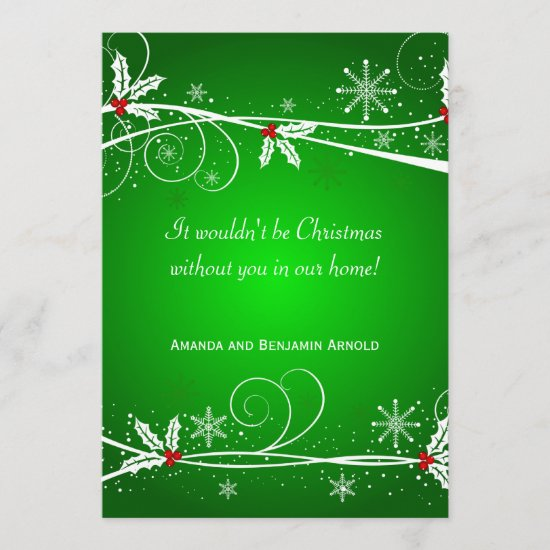 Green Red White Holly Holiday Invitation Card