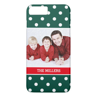 Green Red White Polka Dots Christmas Family Photo iPhone 7 Plus Case