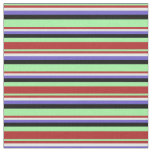 [ Thumbnail: Green, Red, White, Slate Blue & Black Lines Fabric ]
