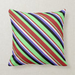 [ Thumbnail: Green, Red, White, Slate Blue & Black Lines Pillow ]