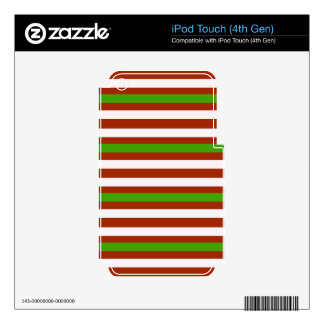 Green Red White Stripe Decal For iPod Touch 4G