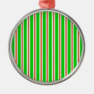 Green Red White Stripes Ornament