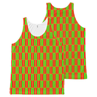 Green Red Yellow Geometric Pattern All-Over-Print Tank Top