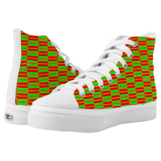 Green Red Yellow Geometric Pattern Zipz High-Top Sneakers