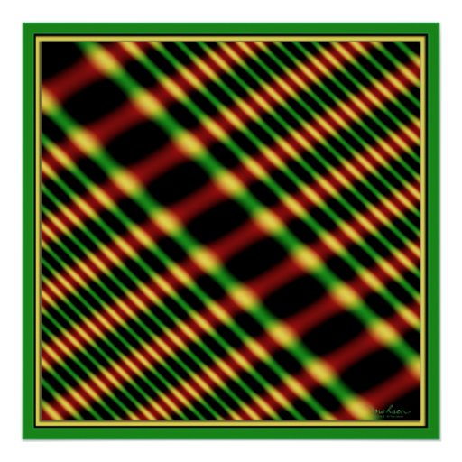 Green Red Yellow Vibrations Poster
