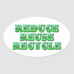Green Reduce Reuse and Recycle Oval Sticker
