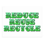 Green Reduce Reuse and Recycle Postcard